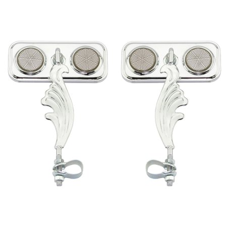 Two Chrome Rectangle Wing Bike Mirrors Right and Left with Black Reflectors. Set of Bike Mirrors. Pair of Bicycle Mirrors....