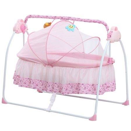 Electric Baby Bassinet Cradle Swing Rocking Music Remoter Control Sleeping Basket Bed Crib For Newborn Infant (Basket Crib)