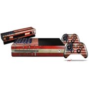 Painted Faded and Cracked USA American Flag - Skin Bundle Decal Style Skin fits XBOX One Console Original, Kinect and 2 Controllers (XBOX SYSTEM NOT INCLUDED)