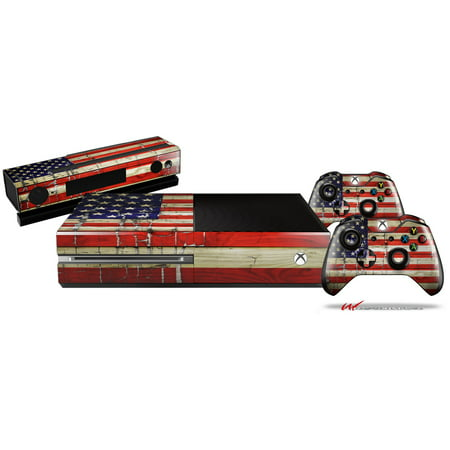 Painted Faded and Cracked USA American Flag - Skin Bundle Decal Style Skin fits XBOX One Console Original, Kinect and 2 Controllers (XBOX SYSTEM NOT INCLUDED) ()