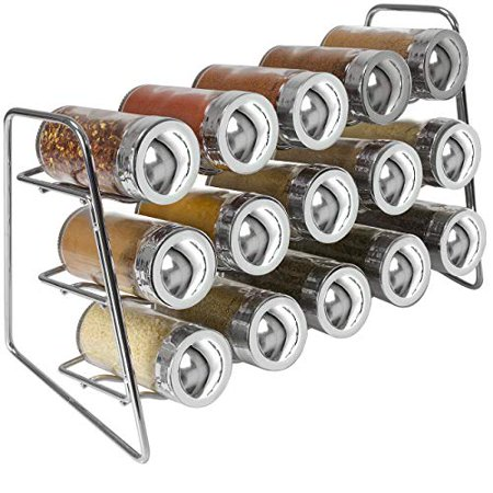 Jar Countertop (Sorbus Spice Rack Stand Holder with 15 Glass Bottle Spice Jars, Great spice rack organizer for Countertops, Cabinet, Kitchen, Dining, Pantry Storage)