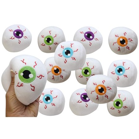 12 Eyeball Plush Stuffed Toy Eye Animal Toys for Ophthalmologists Optometrists Doctors Bulk Small Novelty Toy Prize Assortment Halloween Party Gifts (Set of 12, 1 Dozen) - Halloween Toys Bulk