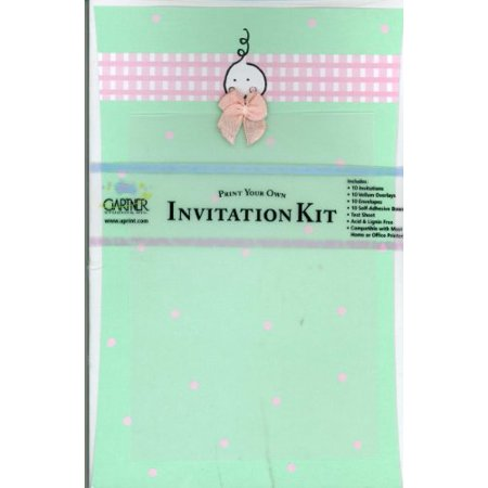 Print Your Own Invitations (Gartner Studios Green Baby Print Your Own Invitation Kit with Pink Bow, 10)