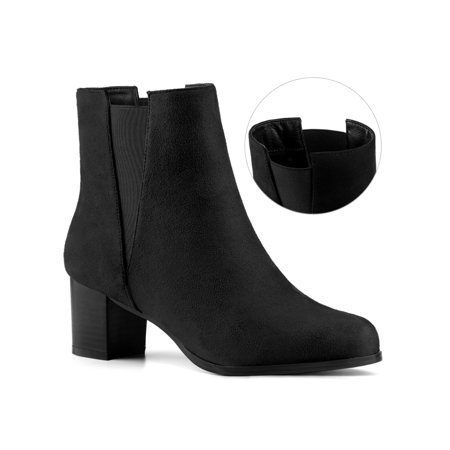 Unique Bargains Round Toe Block High Heel Ankle Chelsea Boots (Women's) - image 1 of 7