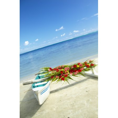 French Polynesia Huahine Outrigger Canoe On The Shore Of A Tropical Beach Decorated With Beautiful Flowers For A Wedding Canvas Art - Kyle Rothenborg  Design Pics (13 x