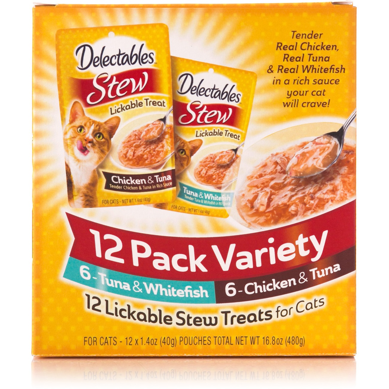 Delectables Lickable Cat Treats Stew 12 Count Variety Pack by Hartz Mountain Corp