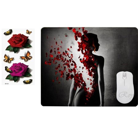 Mouse Tattoo (Woman and Roses Mousepad with Large Rose and Butterfly Sticker Tattoos, MP355)