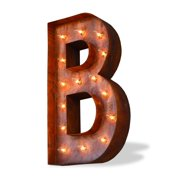 Trekshops Indoor/ Outdoor Rusted Steel Alphabet Letter 'B' Iconic Profession/Commercial MarqueeLight