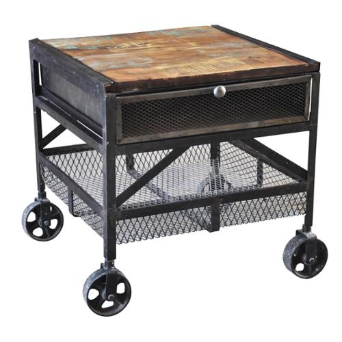 Beau Wanderloot Industrial Metal Mesh Drawer Reclaimed Wood End Table With  Caster Wheels (India)