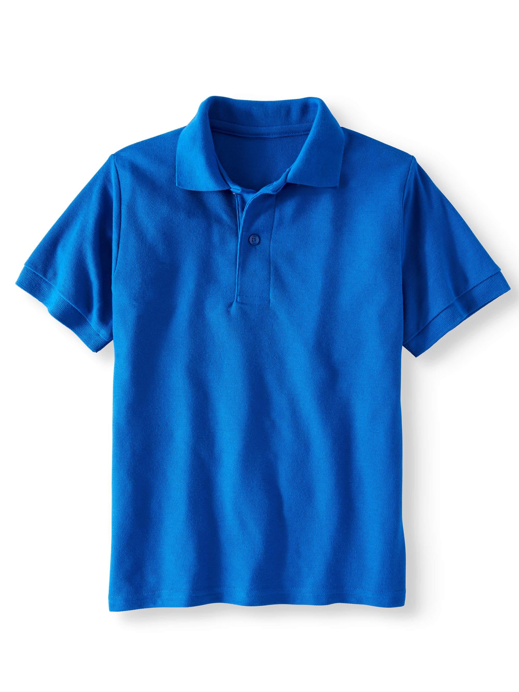 Boys' School Uniform Short Sleeve Wrinkle Resistant Performance Polo Shirt