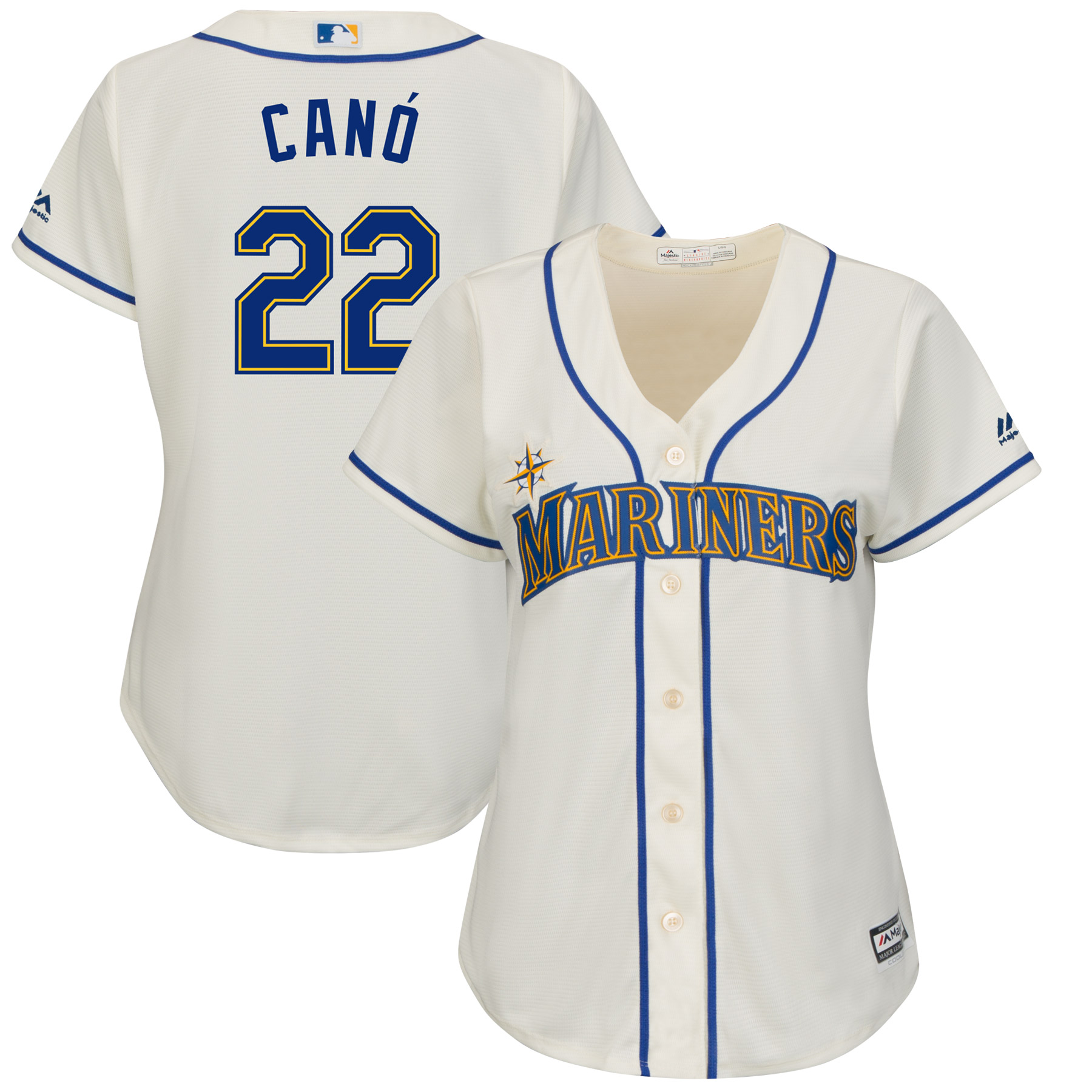 Robinson Cano Seattle Mariners Majestic Women's Alternate Cool Base Replica Player Jersey Cream by MAJESTIC LSG