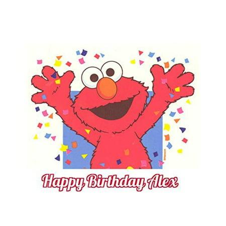 Sesame Street Elmo Edible Image Photo Cake Topper Sheet Personalized Custom Customized Birthday - 1/4 Sheet - 78097 (Elmo 1st Birthday Cake)