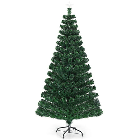 Costway 5'/6'/7'Pre-Lit Fiber Optic Christmas Tree 180/230/280 Lights Top Star ()