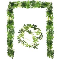 4 Pcs-26ft Artificial Silk Wisteria Flowers Hanging Vine Faux Fake Plants Flowers Hanging Vine Artificial Ivy Leaves Garland Ratta Green Leaf Ivy Garland Decor for Kitchen Wedding Home Party(White)