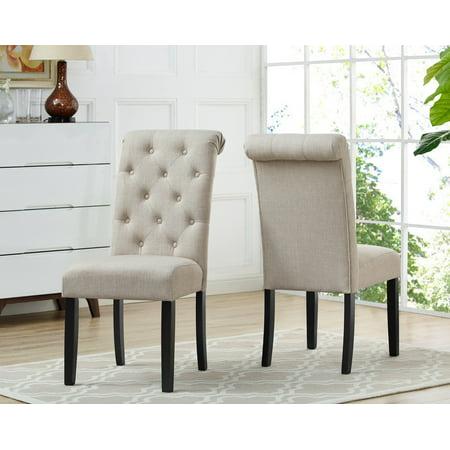Soho Tufted Dining Chair Set Of 2 Beige Walmart Com