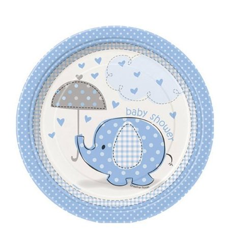 Blue Elephant Baby Shower Edible Cake Topper Frosting 1/4 Sheet Birthday Party (Elephant Cake Topper)