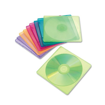 81910 Slim CD Case, Assorted Colors, 10 per Pack, Slim case takes up less space than standard jewel cases. By Innovera