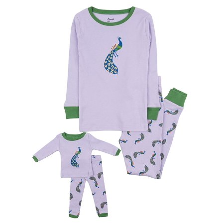 Leveret Kids Pajamas Matching Doll & Girls Pajamas 100% Cotton Pjs Set (Peacock,Size 3 Toddler) - Mother Daughter Matching Pjs