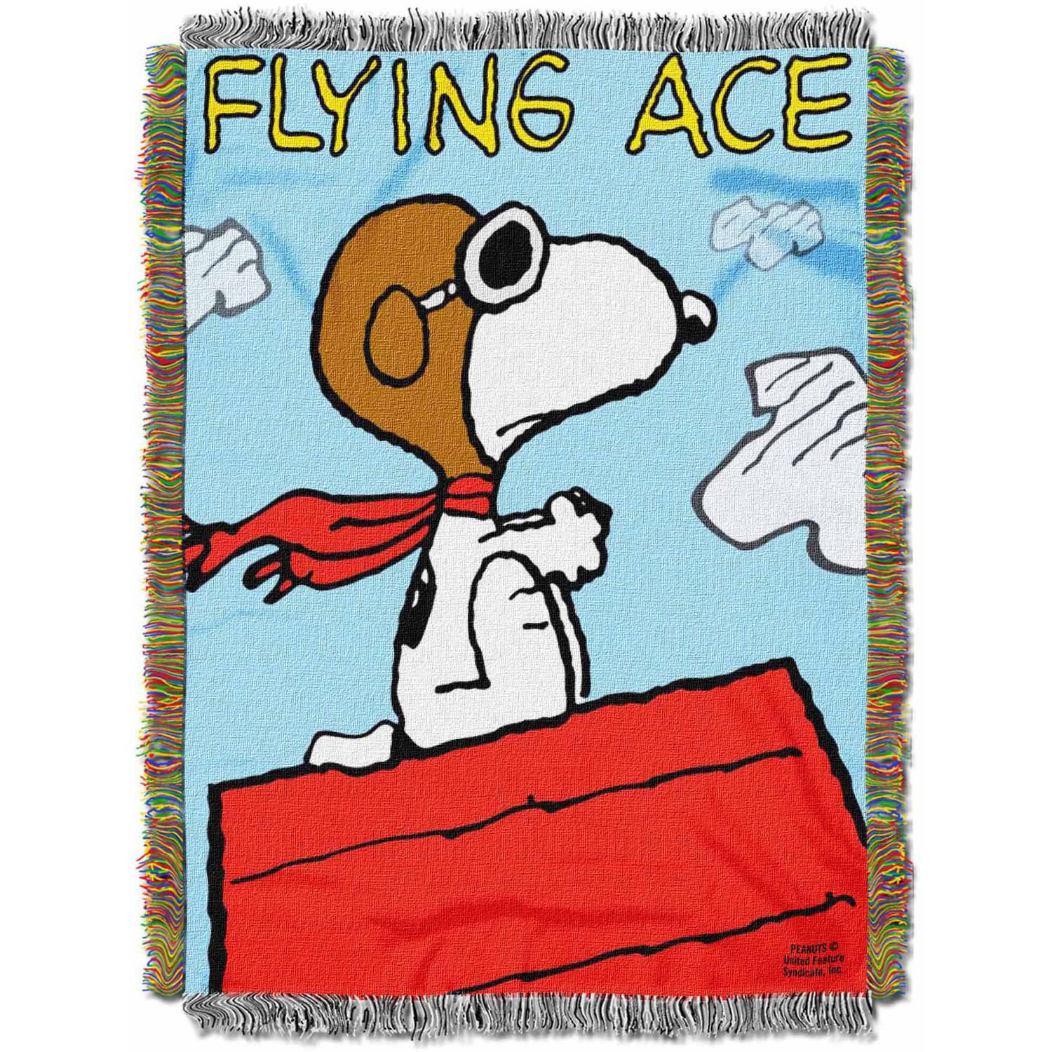 """Peanuts """"Flying Ace"""" 48"""" x 60"""" Woven Tapestry Throw"""