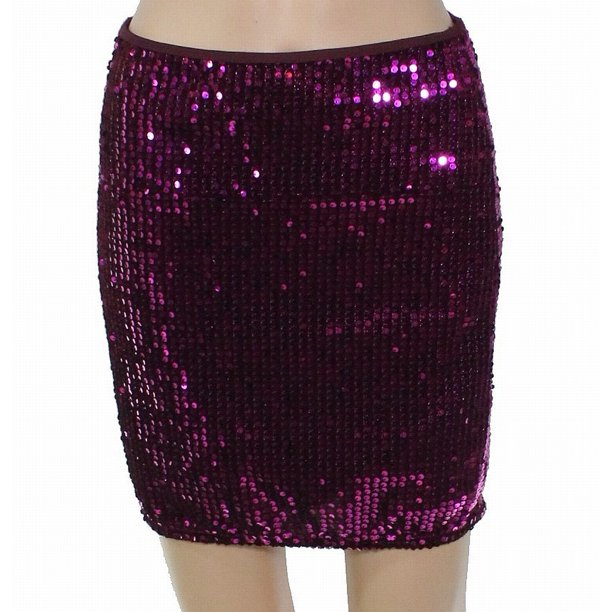 Women's Mini Skirt Magenta Sequin Embellish 4