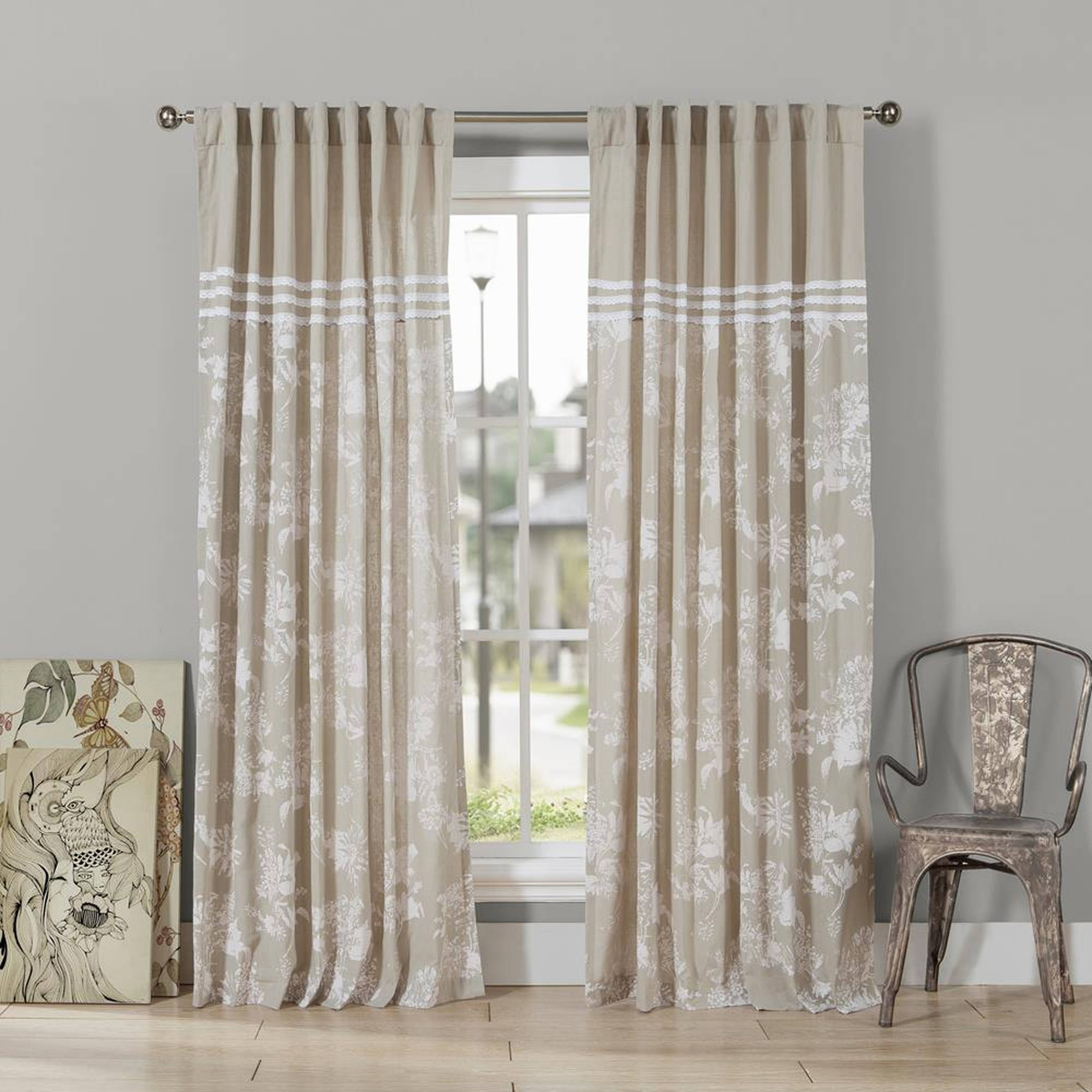 Clara Polycotton Shower Curtain with Three Lines Lace Border