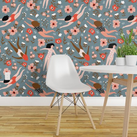 Peel and Stick Removable Wallpaper Girl Woman Floral Swim Coral Red Wh