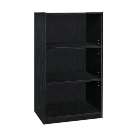 Furinno JAYA Simple Home 3-Tier Adjustable Shelf Bookcase, Blackwood