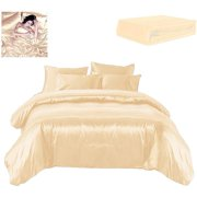 Todd Linens Sexy Satin Sheets 6 Pcs Queen / King Bedding Set 1 Duvet Cover + 1 Fitted Sheet + 4 Pillow Cases (Many Colors) Cream Queen