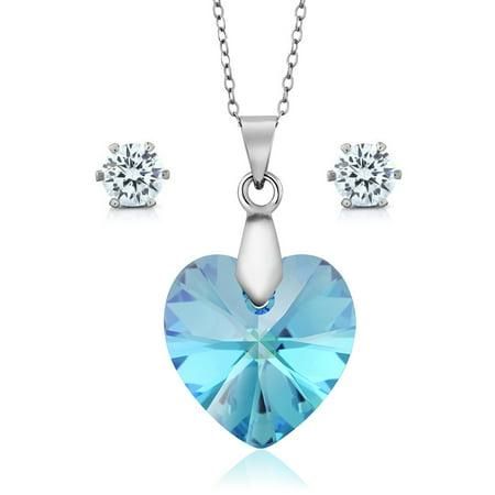 Aurora Borelias Heart Pendant Earrings Set Made with Swarovski® (Gemstone Crystal Set)