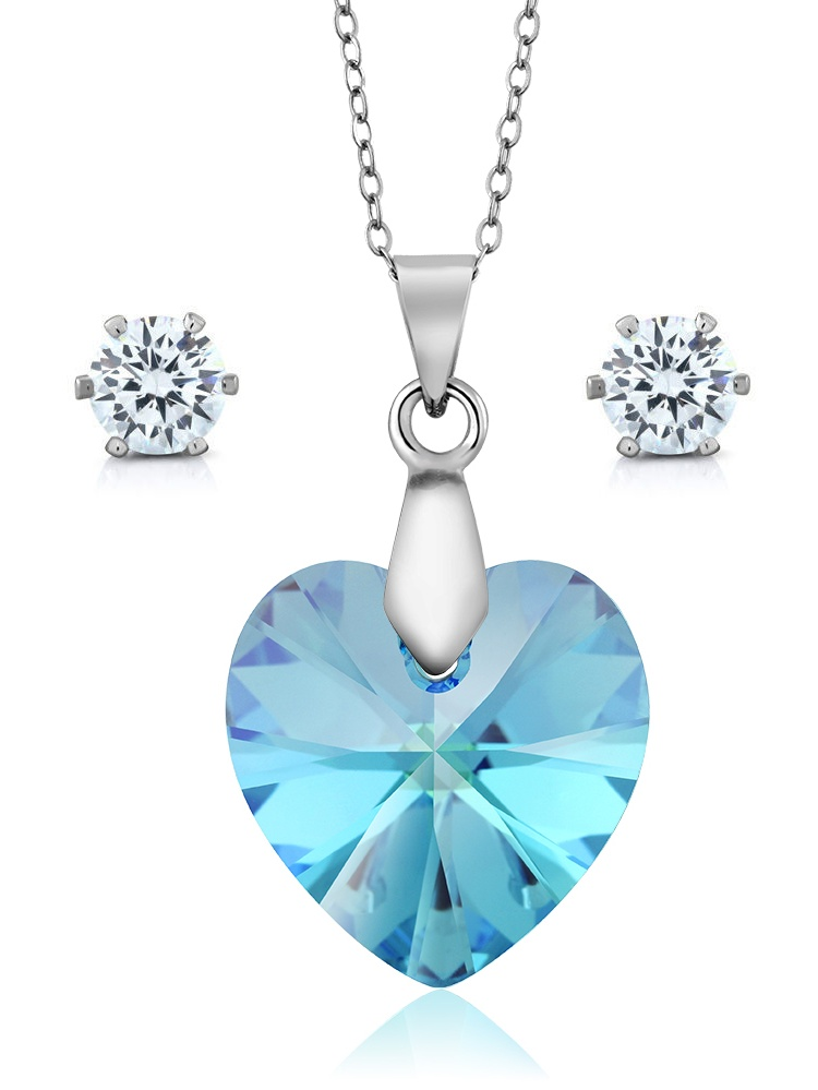 Aurora Borelias Heart Pendant Earrings Set Made with Swarovski® Crystals