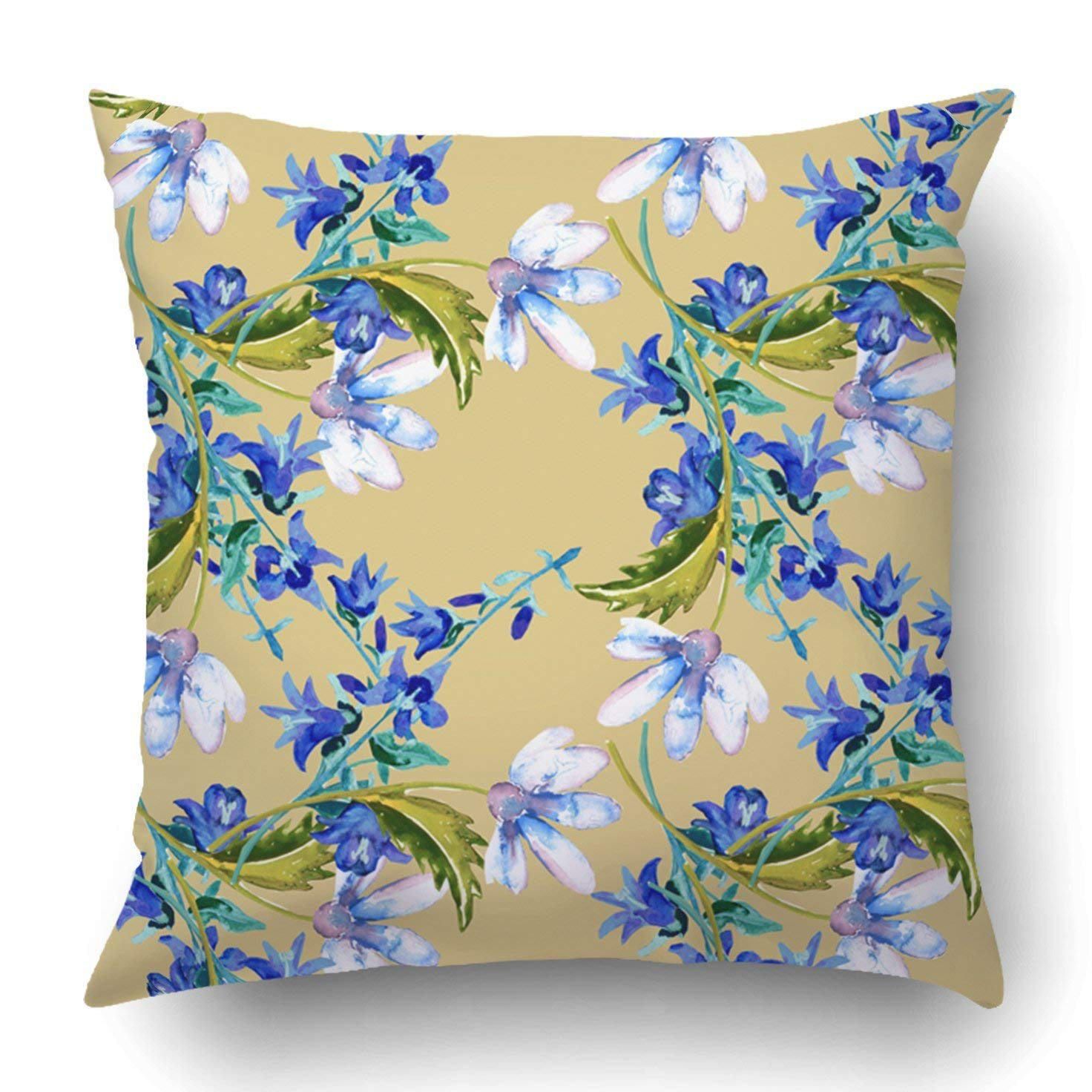 WOPOP Colorful Abstract Blue Summer Flowers Purple Birthday Bouquet Color Creative Pillowcase Cover Cushion 18x18 inch