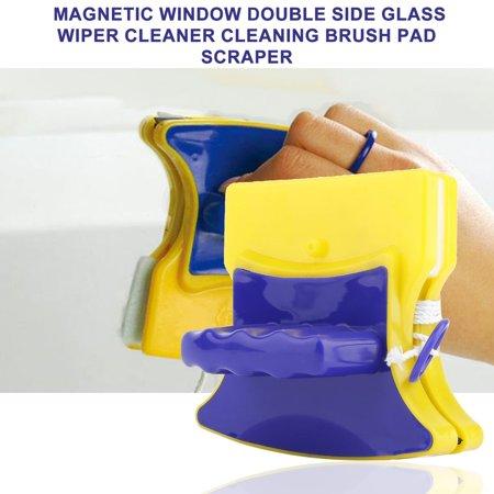 Fancyy Magnetic Window Double Side Glass Wiper Cleaner Cleaning Brush Pad Scraper Yellow & blue - image 7 de 13
