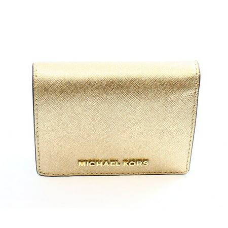 61c5a29ec452 Michael Kors - Michael Kors NEW Gold Saffiano Jet Set Travel Flap Card  Holder Wallet  68  072 - Walmart.com