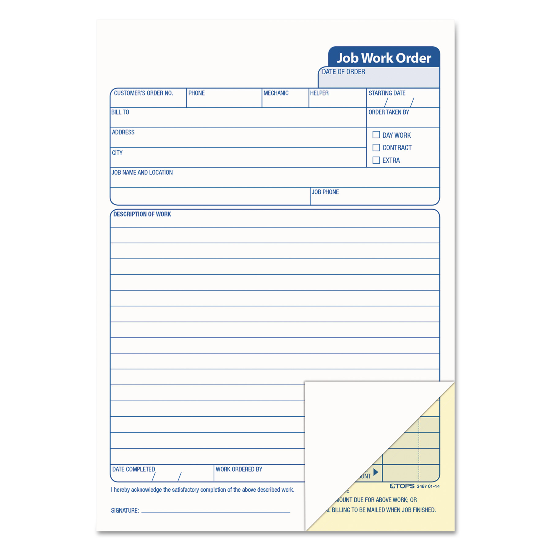 Tops Job Work Order Pad, 5 1/2 x 8 1/2, Two-Part Carbon, ...