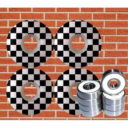 CHECKERED Skateboard Wheels WITH ABEC 9 Bearings 52mm