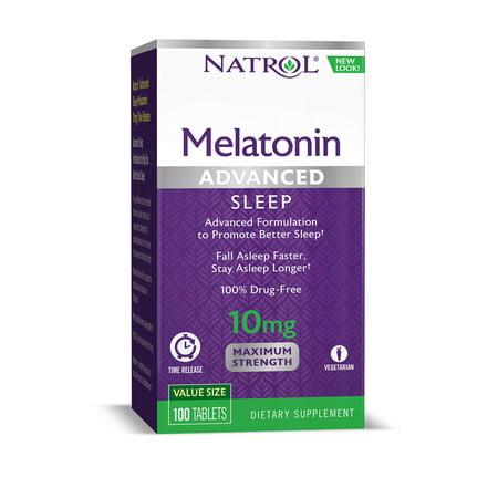 Natrol Advanced Sleep Melatonin 10mg Time Released, 100 (Best Melatonin Brand For Sleep)