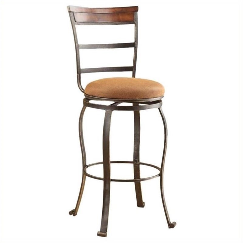 "Bowery Hill 29"" Swivel Bar Stool in Antique Bronze (Set of 2)"