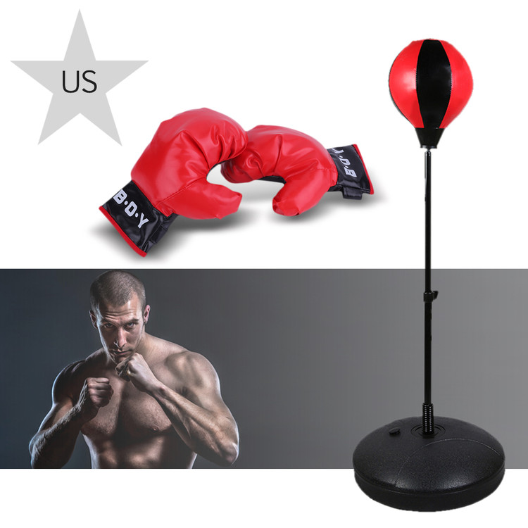 Punching Ball with Stand and Gloves - Height Adjustable - Great Exercise & Fun Activity for Kids