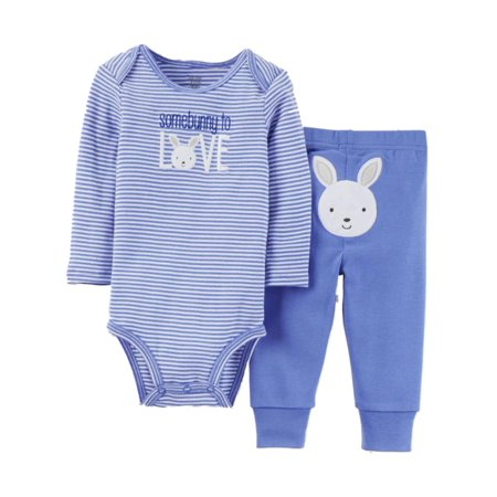 Infant Boys Easter Bunny Baby Outfit Somebunny to Love Bodysuit & Pants