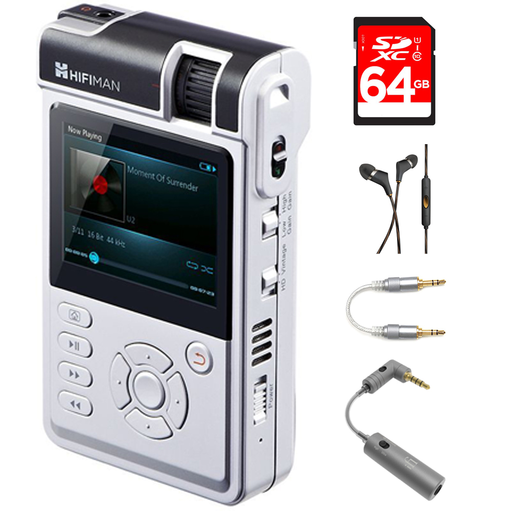 HIFIMAN High-Fidelity Portable Music Player with Classic & Balanced Amp Cards (HM650) with 64GB Memory Card, In-Ear Headphone, 3.5mm-to-3.5mm Straight Stereo Audio Cable & Micro Headphone Matcher