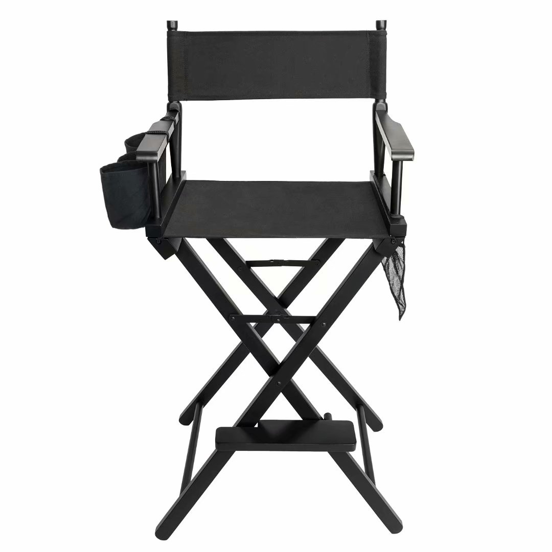 High Quality Solid Hardwood & Polyester Folding Makeup Chair Black