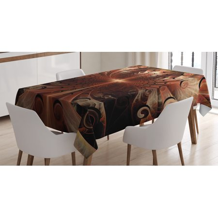 Fractal Tablecloth, Gothic Medieval Metallic Heraldic Ornate Background Middle Age Knight Aged Artwork, Rectangular Table Cover for Dining Room Kitchen, 52 X 70 Inches, Copper, by Ambesonne](Medieval Table Setting)