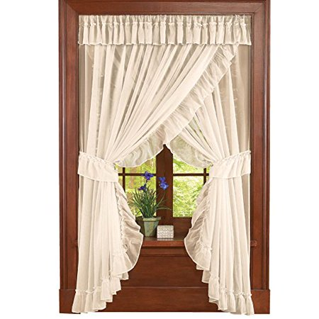 Collections Etc Isabella Ruffled Sheer Fabric Curtain Set, Cream