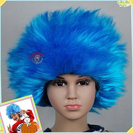 Thing 1 Wigs (Thing 1 Thing 2 Dr. Seuss Suess Cat in the Hat STRAIGHT Hair Children's)