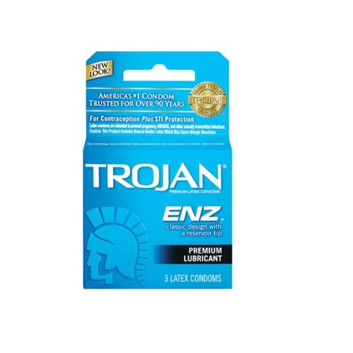 TROJAN Enz Condoms Lubricated Latex 3 Each (Pack of 6)