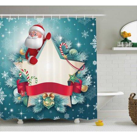 The Holiday Aisle Christmas Santa Star Snowflake Shower Curtain Hooks