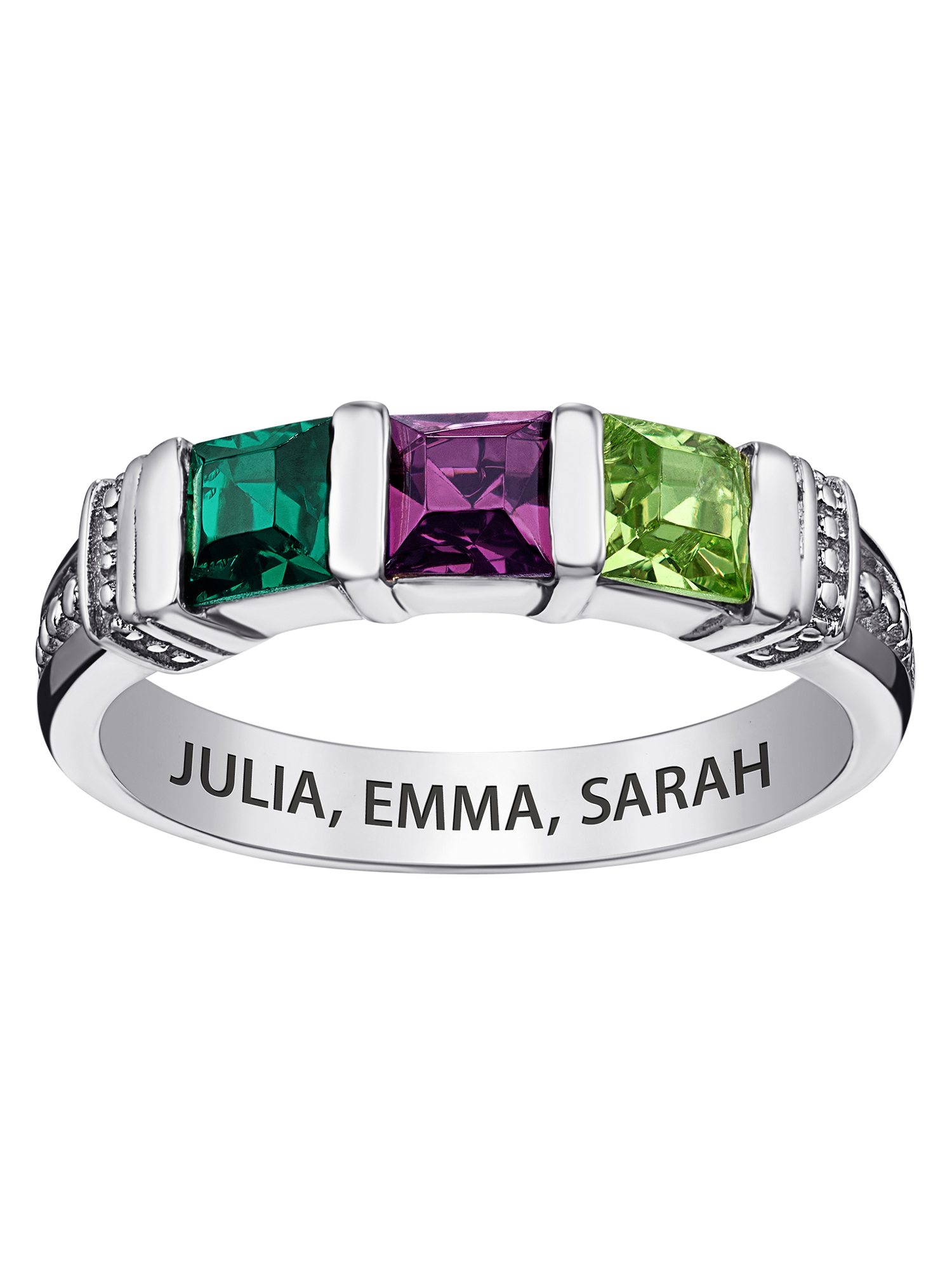 Mothers Ring Engraved Birthstone Ring 2 Stones Ring Personalized /& Custom Made 925 Sterling Silver