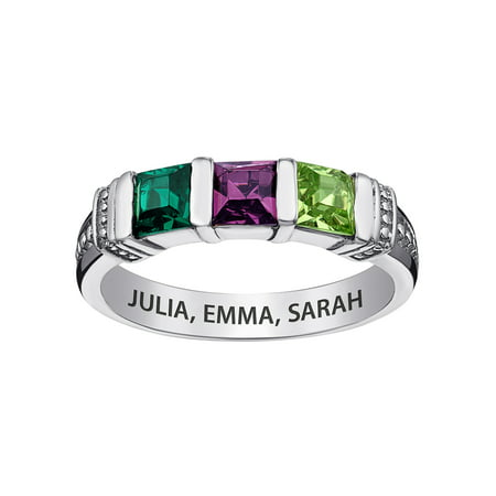 Family Jewelry Personalized Mother's Sterling Silver Square Birthstone Ring 2-5 Stones for $<!---->