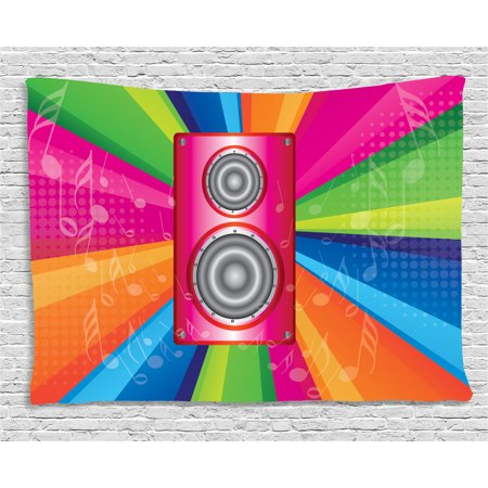 Themes Of The 70s (Vintage Rainbow Tapestry, Discotheque Pop Party of the 60s 70s Theme Musical Notes and Pink Stereo, Wall Hanging for Bedroom Living Room Dorm Decor, 60W X 40L Inches, Multicolor, by)