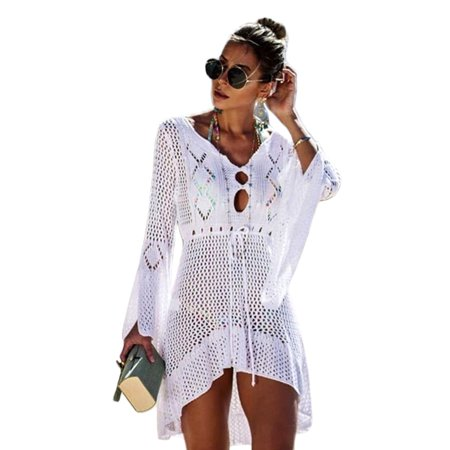 Women  Bikini Cover Up Mini Dress Top Knit Crochet Hollow Long Flared Sleeve Beachwear Summer Casual Party Knit Bathing Suit
